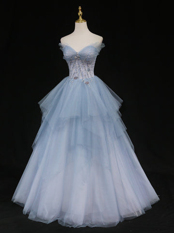 Sweetheart Neck Blue Ombre Tulle Long Prom Dresses, Blue Ombre Long Tulle Formal Evening Dresses