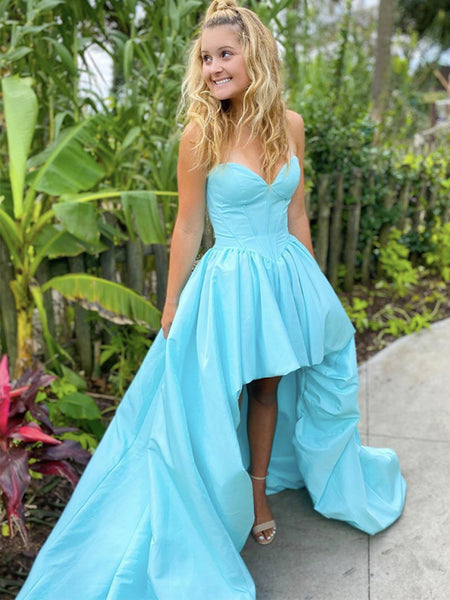 Sweetheart Neck High Low Blue Satin Prom Dresses, Blue Satin High Low Formal Graduation Dresses
