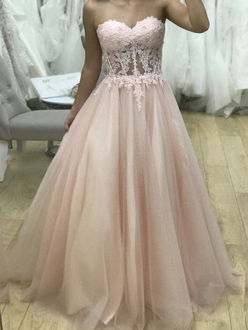 Sweetheart Neck Pink Tulle Lace Prom Dresses, Pink Tulle Lace Formal Evening Dresses