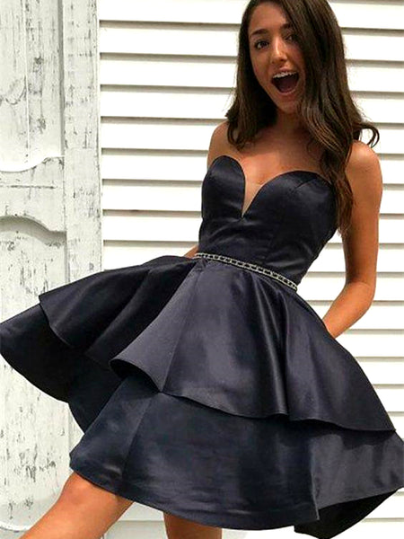 Sweetheart Neck Short Back Prom Dresses, Little Black Formal Graduation Homecoming Dresses