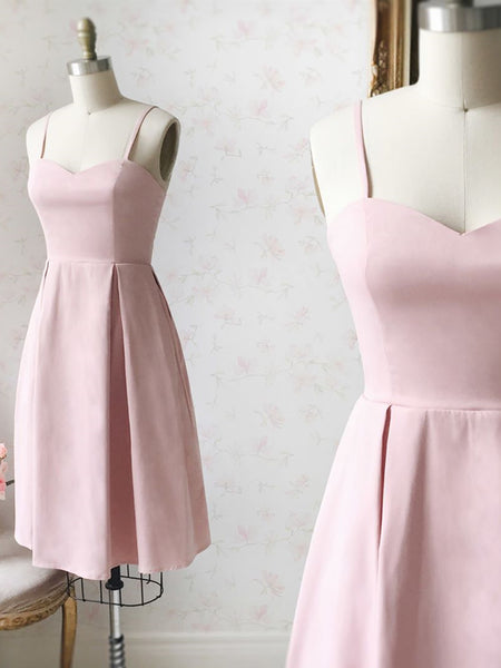 Sweetheart Neck Short Pink Satin Prom Dresses, Short Pink Formal Graduation Homecoming Dresses