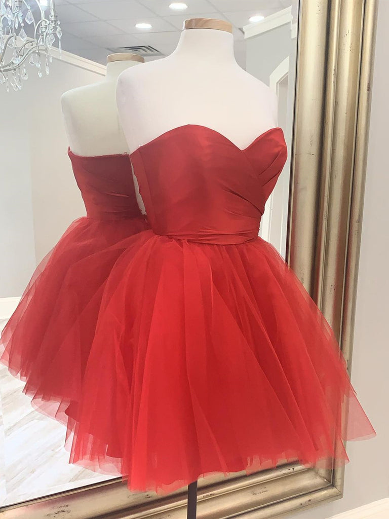 Sweetheart Neck Short Red Prom Dresses, Short Red Formal Graduation Dresses