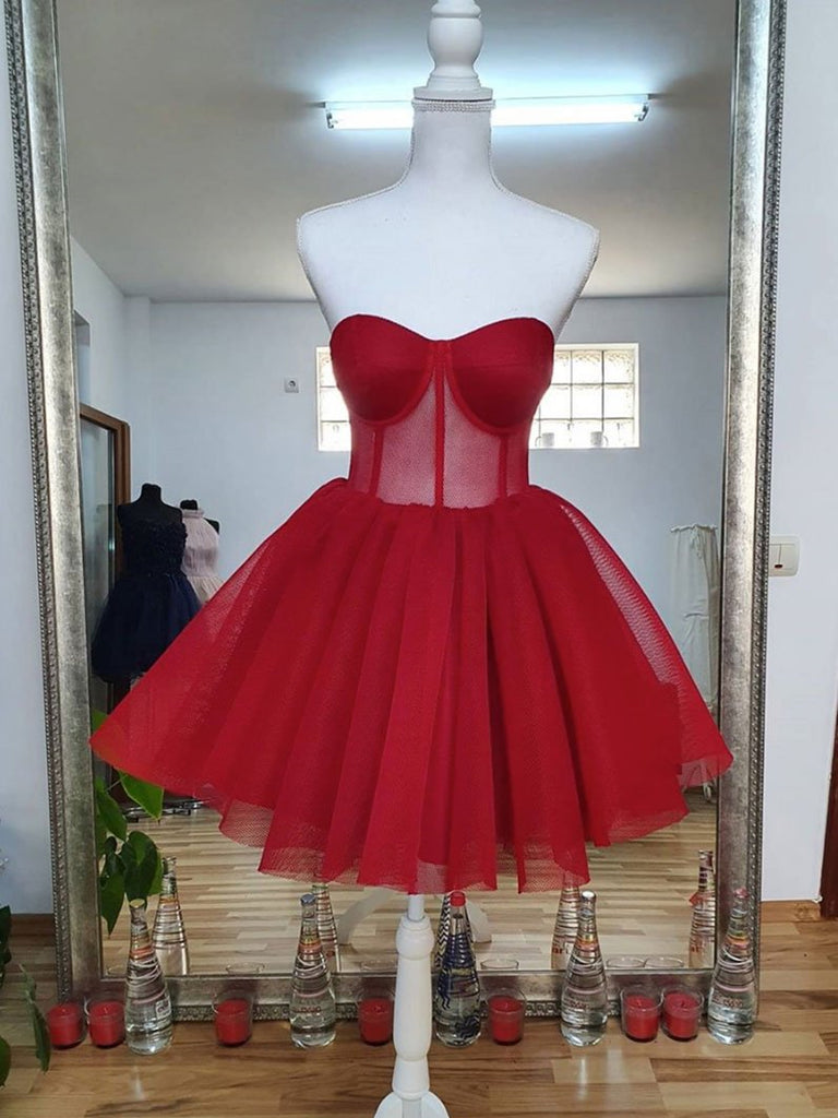 Sweetheart Neck Short Red Prom Dresses, Short Red Formal Graduation Homecoming Dresses