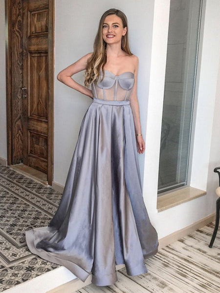 Sweetheart Neck Silver Gray Long Satin Prom Dresses, Silver Gray Formal Evening Dresses