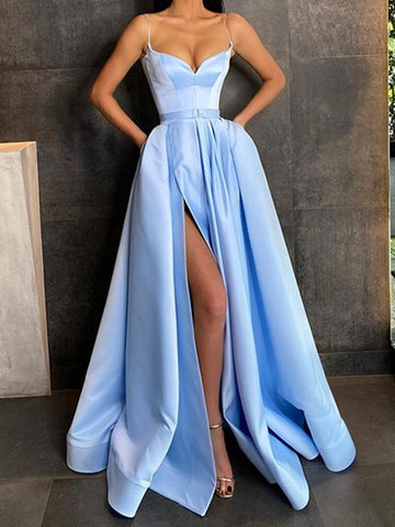 Sweetheart Neck Sky Blue Satin Long Prom Dresses, Light Blue Long Satin Formal Evening Dresses