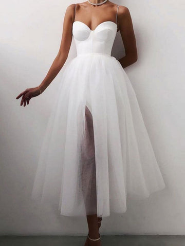 Sweetheart Neck White Tea Length Prom Dresses, Tea Length White Formal Graduation Dresses