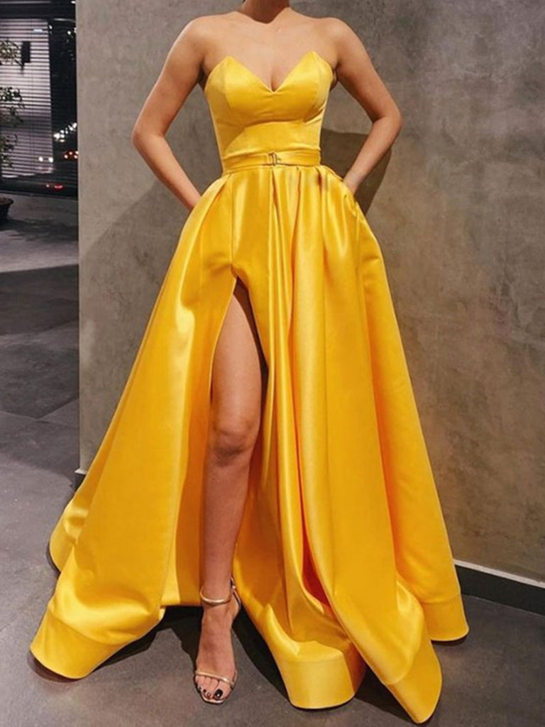 Sweetheart Neck Yellow Satin Long Prom Dresses, Yellow Satin Long Formal Evening Dresses