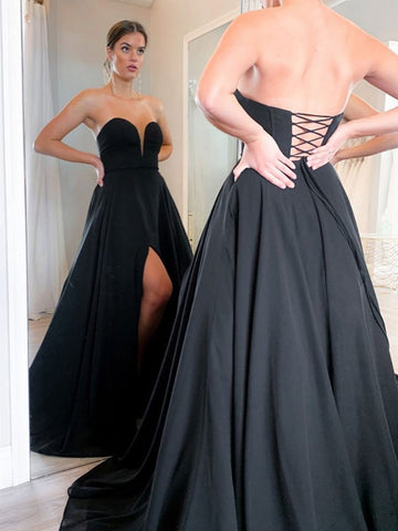 Sweetheart Neck Black Long Prom Dresses, Black Corset Back Formal Evening Dresses