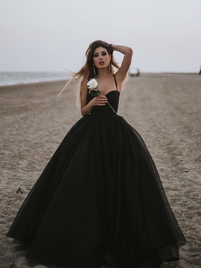Sweetheart Neck Black Tulle Prom Gowns, Black Tulle Prom Dresses, Black Formal Evening Dresses