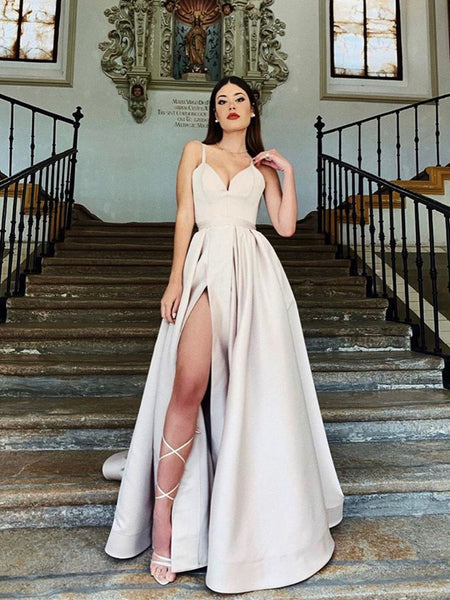 Sweetheart Neck Champagne Long Prom Dress with High Slit, High Slit Champagne Floor Length Formal Graduation Evening Dresses