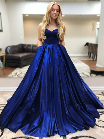 Sweetheart Neck Floor Length Blue Prom Gown with Pockets, Long Blue Prom Formal Graduation Dresses