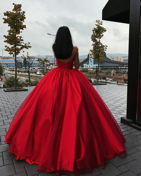 Sweetheart Neck Floor Length Red Prom Gown with Corset Back, Red Long Prom Dresses, Formal Evening Dresses
