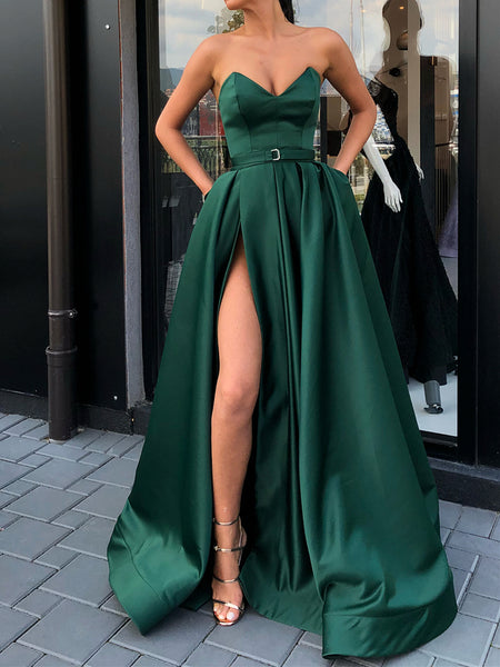 Sweetheart Neck Green Long Prom Dress with High Slit, Sweetheart Neck Green Formal Evening Graduation Dress