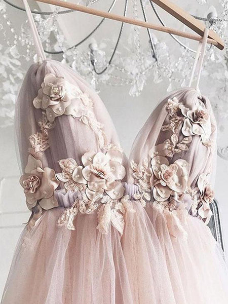 Sweetheart Neck Pink Floral Tulle Prom Dresses, Pink Floral Wedding Formal Graduation Dresses