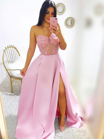 Sweetheart Neck Pink Lace Prom Dresses Long, Pink Lace Formal Graduation Evening Dresses