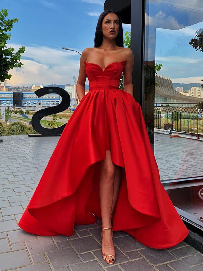 Sweetheart Neck Red High Low Prom Dresses, Red High Low Satin Formal Graduation Evening Dresses