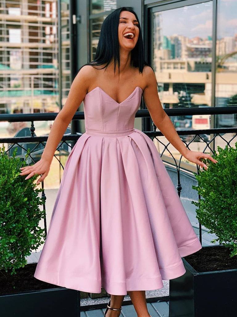 Sweetheart Neck Short Champagne Pink Prom Dresses, Short Champagne Pink Formal Homecoming Dresses