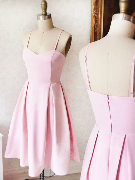 Sweetheart Neck Short Pink Prom Dresses, Short Pink Formal Homecoming Dresses