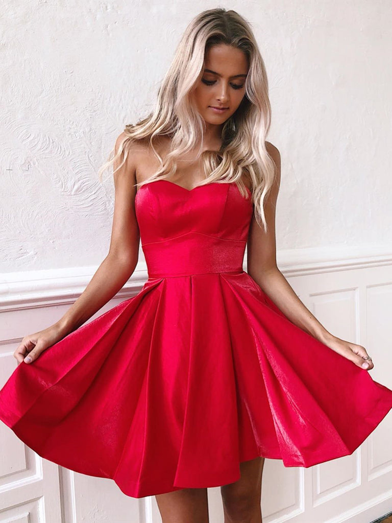Sweetheart Neck Short Red Prom Dresses with Corset Back, Short Red Homecoming Graduation Dresses