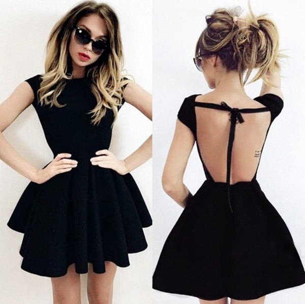 Newest Short Black Backless Prom Dress, Black Backless Homecoming Dress, Short Formal Dresses