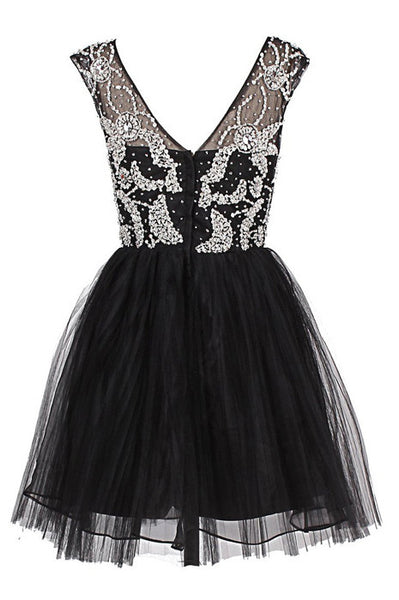 A Line Round Neck Short Black Prom Dress, Short Black Homecoming Dress, Graduation Dress