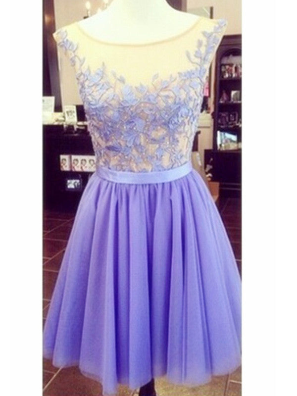 A Line Round Neck Lace Short Purple Prom Dress Short Purple