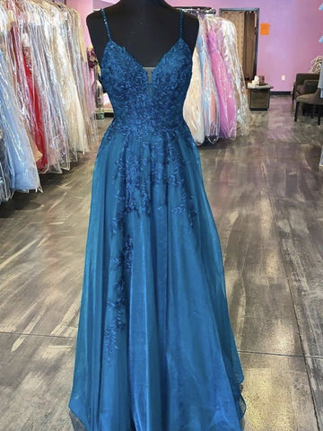 Thin Straps Blue V Neck Long Lace Prom Dresses, V Neck Blue Lace Formal Evening Dresses