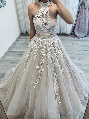 Two Pieces Champagne Lace Prom Dresses, 2 Pieces Champagne Lace Formal Wedding Dresses