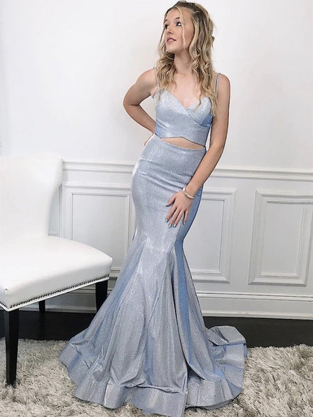 Two Pieces Silver Gray Mermaid Prom Dresses, 2 Pieces Gray Mermaid Long Formal Evening Dresses