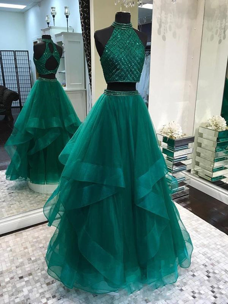 Two Pieces Emerald Green Prom Dress Long, 2 Pieces Green Long Formal Graduation Dresses