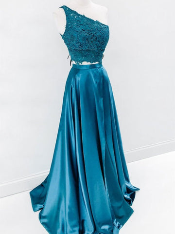 Two Pieces One Shoulder Blue Lace Prom Dresses, 2 Pieces Blue Lace Formal Graduation Evening Dresses
