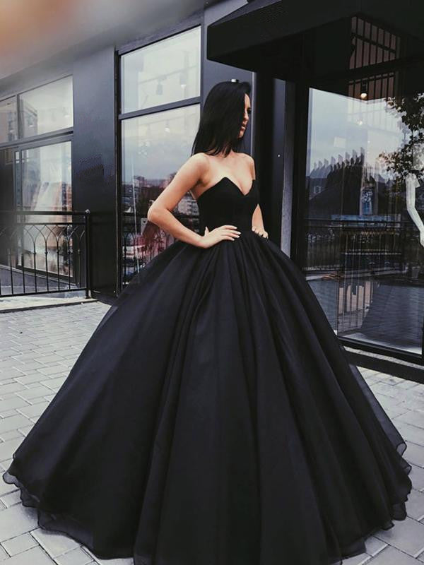Black Sweetheart Neck Floor-length Sleeveless Prom Gown, Black Formal Dress