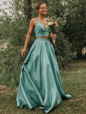 V Neck 2 Pieces Green Long Prom Dresses, Two Pieces Green Long Formal Evening Dresses