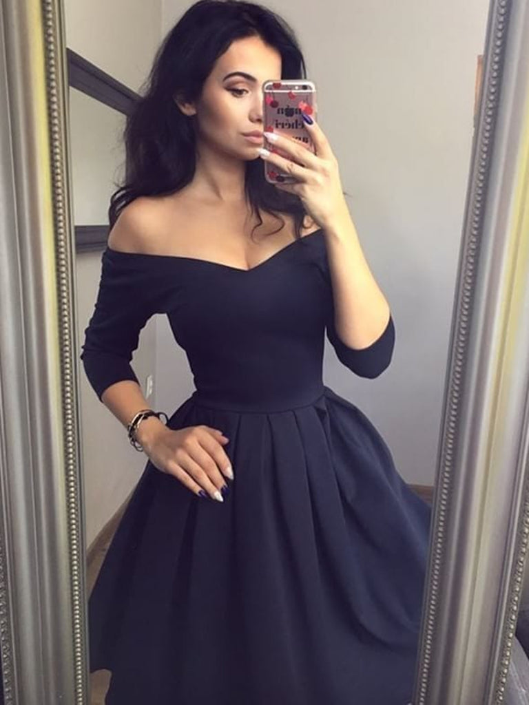 V Neck 3/4 Sleeves Short Black Prom Dresses, Short Black Formal Homecoming Dresses