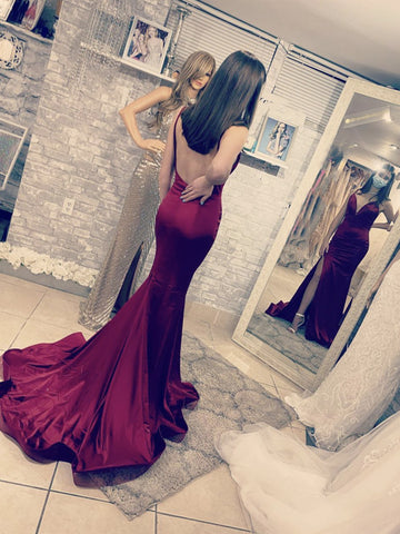 V Neck Backless Burgundy Mermaid Long Prom Dresses, Wine Red Open Back Formal Evening Dresses