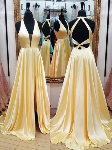 V Neck Backless Yellow Satin Long Prom Dresses, Yellow Open Back Formal Evening Graduation Dresses