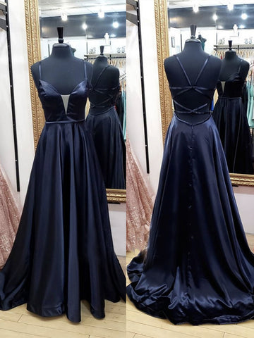 V Neck Black Satin Long Prom Dresses, Black V Neck Long Satin Formal Evening Dresses