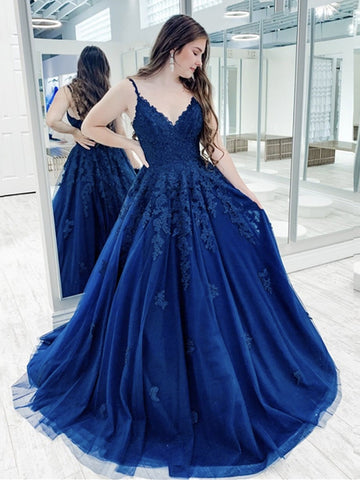 V Neck Blue Lace Prom Dresses, Blue Lace Formal Evening Dresses