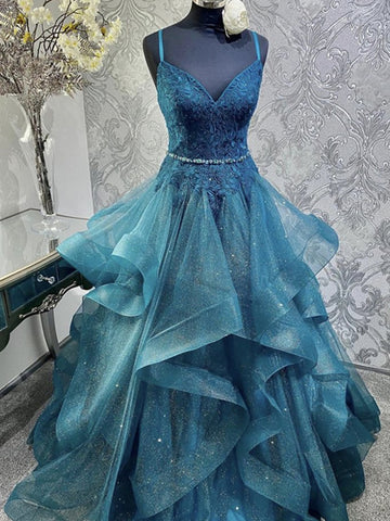 V Neck Blue Tulle Lace Prom Dresses, Shiny Blue Long Formal Evening Dresses