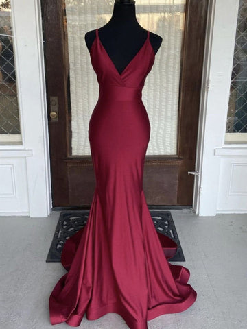 V Neck Burgundy Mermaid Prom Dresses, Wine Red Mermaid Formal Evening Dresses