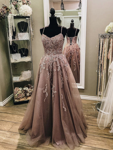 V Neck Champagne Lace Prom Dresses, Champagne Lace Formal Evening Dresses