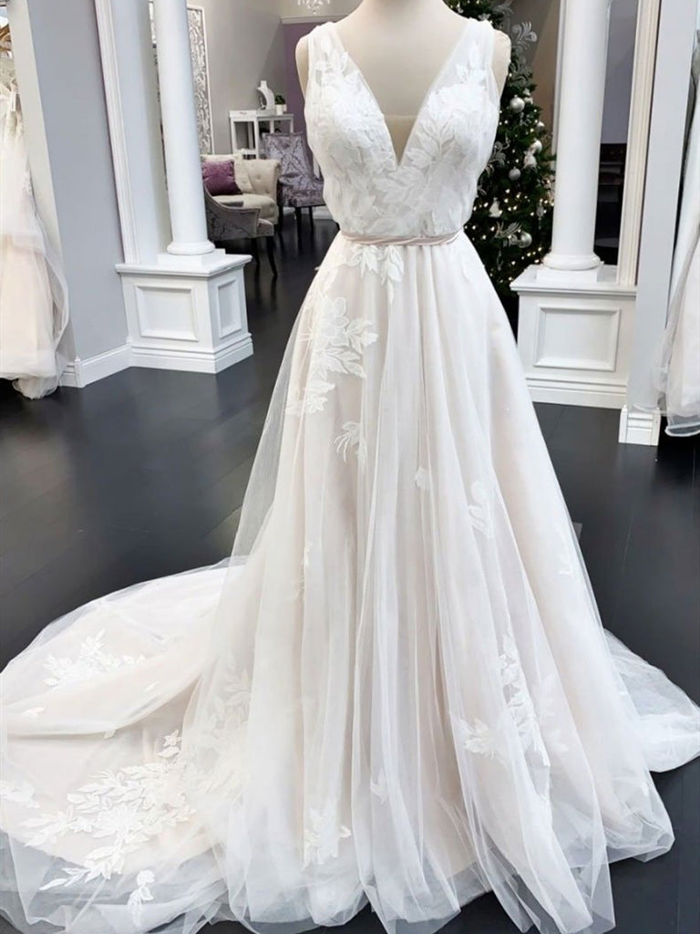 V Neck Ivory Lace Wedding Dresses, Ivory Lace Prom Formal Dresses