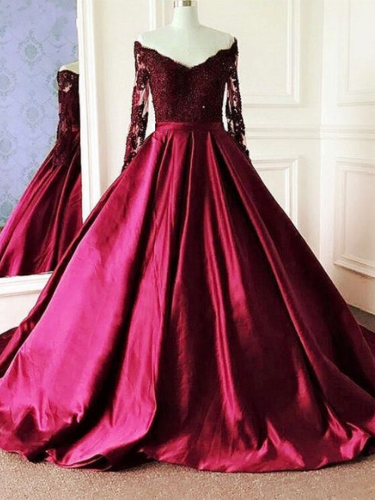 V Neck Long Sleeves Burgundy Lace Prom Dresses, Wine Red Long Sleeves Lace Formal Evening Dresses
