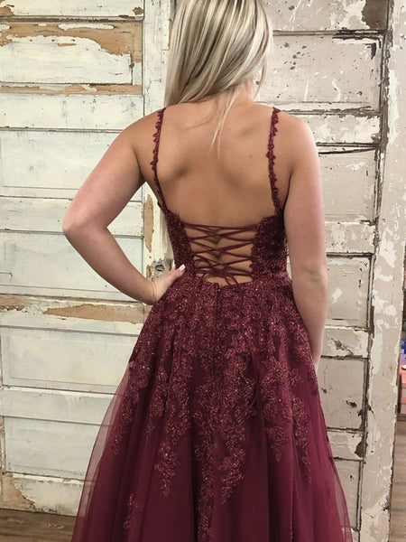 V Neck Maroon Burgundy Lace Prom Dresses, Wine Red Lace Formal Evening Dresses