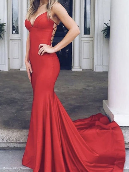 V Neck Red Mermaid Long Prom Dresses, Red V Neck Mermaid Formal Evening Dresses