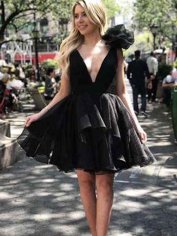 V Neck Short Black Prom Dresses, Short Black V Neck Formal Homecoming Dresses
