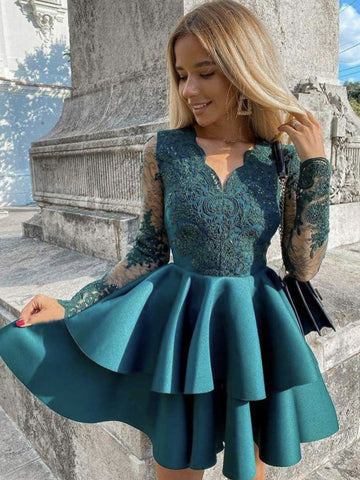 V Neck Short Green Lace Prom Dresses, Short Green Lace Formal Homecoming Dresses