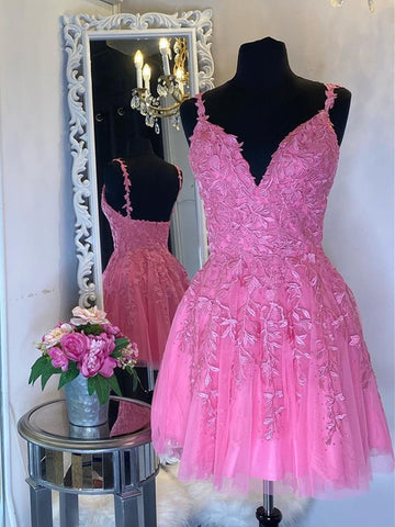 V Neck Short Pink Lace Prom Dresses, V Neck Pink Lace Formal Graduation Dresses