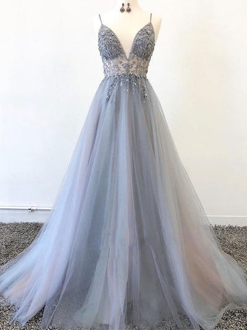 V Neck Silver Grey Beaded Long Prom Dresses, Silver Gray Beaded Long Formal Evening Dresses