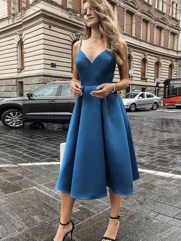 V Neck Tea Length Blue Satin Prom Dresses, Tea Length Blue Satin Formal Evening Dresses